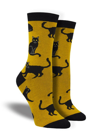 Black Cat (Bamboo) Crew Socks