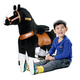 PonyCycle x Vroom Rider VR-N4184 Black Horse w/ White Hoof for 4-9 Years Old