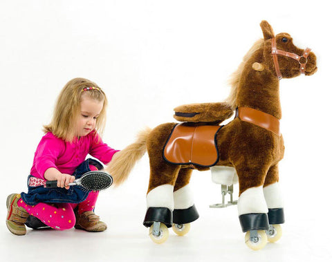 Small Dark Brown PonyCycle Ride-On Horse for 3-5 Years Old