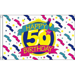 Happy Birthday Flag - 50 Flags - United Flags And Flagstaffs