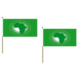 African Union Fabric National Hand Waving Flag  - United Flags And Flagstaffs