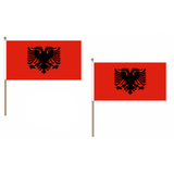 Albania Fabric National Hand Waving Flag  - United Flags And Flagstaffs