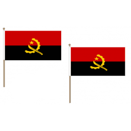 Angola Fabric National Hand Waving Flag  - United Flags And Flagstaffs