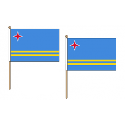 Aruba Fabric National Hand Waving Flag  - United Flags And Flagstaffs