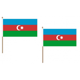 Azerbaijan Fabric National Hand Waving Flag  - United Flags And Flagstaffs