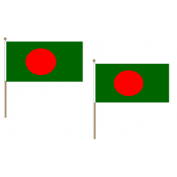 Bangladesh Fabric National Hand Waving Flag  - United Flags And Flagstaffs