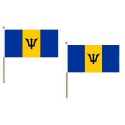 Barbados Fabric National Hand Waving Flag  - United Flags And Flagstaffs