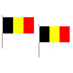 Belgium Fabric National Hand Waving Flag  - United Flags And Flagstaffs