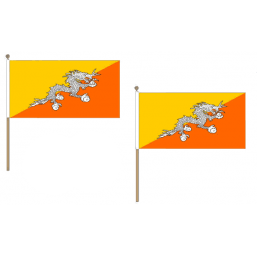 Bhutan Fabric National Hand Waving Flag  - United Flags And Flagstaffs