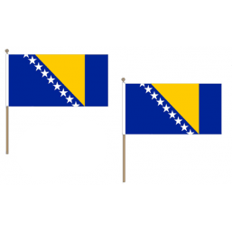 Bosnia and Herzegovina Fabric National Hand Waving Flag  - United Flags And Flagstaffs