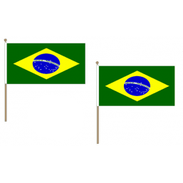 Brazil Fabric National Hand Waving Flag  - United Flags And Flagstaffs