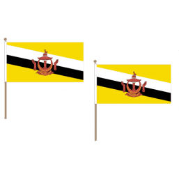 Brunei Fabric National Hand Waving Flag  - United Flags And Flagstaffs