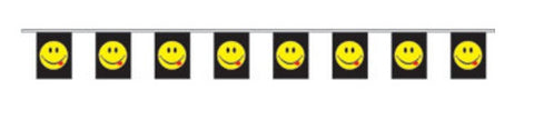 Economy Fabric Bunting - Acid Smiley  - United Flags And Flagstaffs