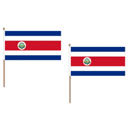 Costa Rica Fabric National Hand Waving Flag  - United Flags And Flagstaffs