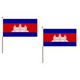 Cambodia Fabric National Hand Waving Flag  - United Flags And Flagstaffs