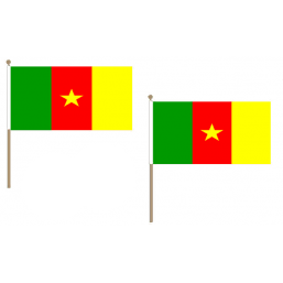 Cameroon Fabric National Hand Waving Flag  - United Flags And Flagstaffs