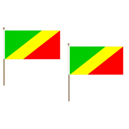 Congo Brazzaville Fabric National Hand Waving Flag  - United Flags And Flagstaffs