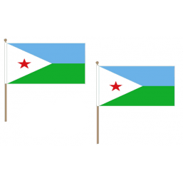 Djibouti Fabric National Hand Waving Flag  - United Flags And Flagstaffs