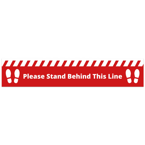 COVID SECURE - FLOOR GRAPHICS - PLEASE STAND BEHIND LINE (10 Pack)