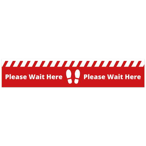 COVID SECURE - FLOOR GRAPHICS - PLEASE WAIT HERE (10 Pack)