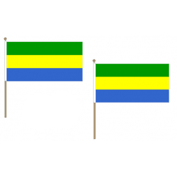 Gabon Fabric National Hand Waving Flag