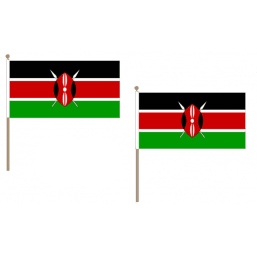 Kenya Fabric National Hand Waving Flag Flags - United Flags And Flagstaffs