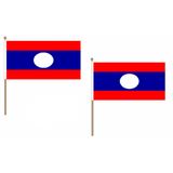 Laos Fabric National Hand Waving Flag Flags - United Flags And Flagstaffs