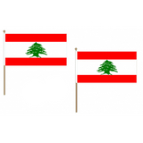 Lebanon Fabric National Hand Waving Flag Flags - United Flags And Flagstaffs