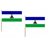 Lesotho Fabric National Hand Waving Flag Flags - United Flags And Flagstaffs