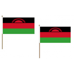 Malawi Fabric National Hand Waving Flag Flags - United Flags And Flagstaffs