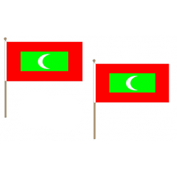 Maldives Fabric National Hand Waving Flag Flags - United Flags And Flagstaffs