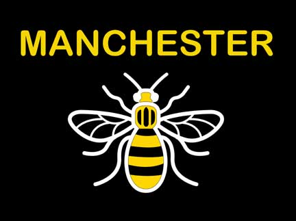 Manchester Bee Flag Flags - United Flags And Flagstaffs