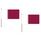 Qatar Fabric National Hand Waving Flag Flags - United Flags And Flagstaffs