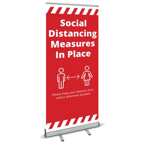 COVID SECURE ROLL UP BANNER -SOCIAL DISTANCING IN OPERATION