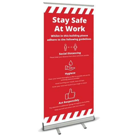 COVID SECURE ROLL UP BANNER - STAY SAFE AT WORK