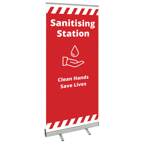 COVID SECURE ROLL UP BANNER - Sanitising Station