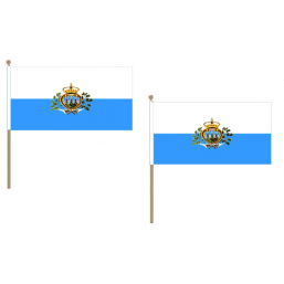 San Marino Fabric National Hand Waving Flag Flags - United Flags And Flagstaffs