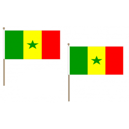 Senegal Fabric National Hand Waving Flag Flags - United Flags And Flagstaffs