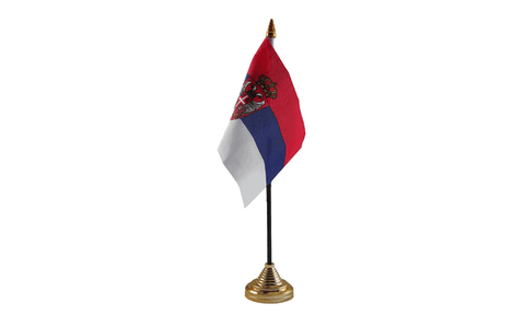 Serbia Crest Table Flag Flags - United Flags And Flagstaffs
