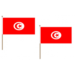 Tunisia Fabric National Hand Waving Flag Flags - United Flags And Flagstaffs