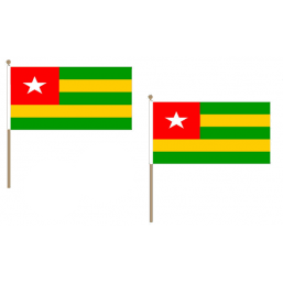 Togo Fabric National Hand Waving Flag Flags - United Flags And Flagstaffs