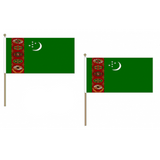 Turkmenistan Fabric National Hand Waving Flag Flags - United Flags And Flagstaffs