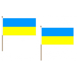 Ukraine Fabric National Hand Waving Flag Flags - United Flags And Flagstaffs
