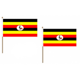 Uganda Fabric National Hand Waving Flag Flags - United Flags And Flagstaffs