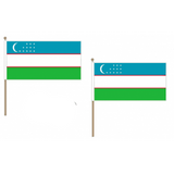 Uzbekistan Fabric National Hand Waving Flag Flags - United Flags And Flagstaffs
