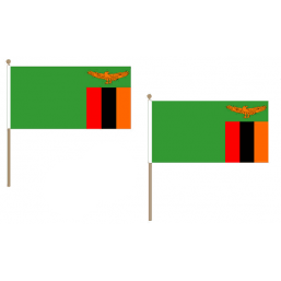 Zambia Fabric National Hand Waving Flag Flags - United Flags And Flagstaffs