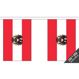 Austria Flag With Crest - Fabric Bunting Flags - United Flags And Flagstaffs