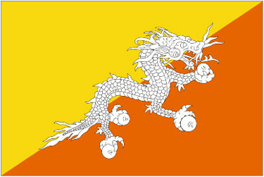 Bhutan National Flag Printed Flags - United Flags And Flagstaffs