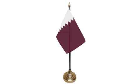 Qatar Table Flag Flags - United Flags And Flagstaffs