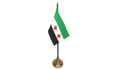 Syria Rebel Table Flag Flags - United Flags And Flagstaffs